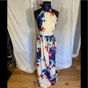 Eliza J striking watercolor halter maxi dress 4
